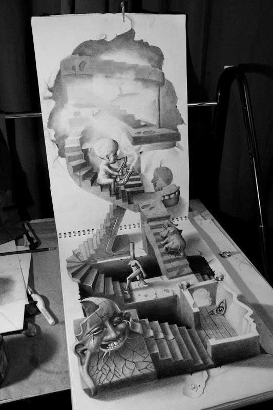 Desenhos anamórficos 3D que parecem reais