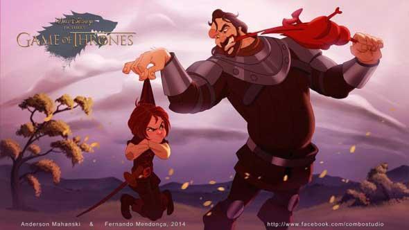 game-of-thrones-personagens-disney-arya-cão-de-caça