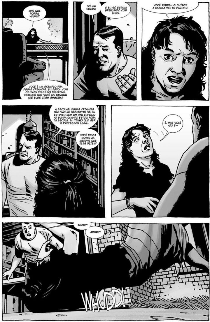 """Negan e Lucille em uma página do especial """"Here's Negan"""", nos quadrinhos de The Walking Dead."""