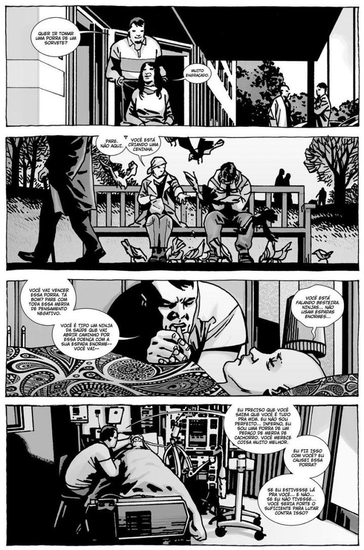 """Negan fica ao lado de Lucille em seus momentos finais em uma página do especial """"Here's Negan"""", nos quadrinhos de The Walking Dead."""