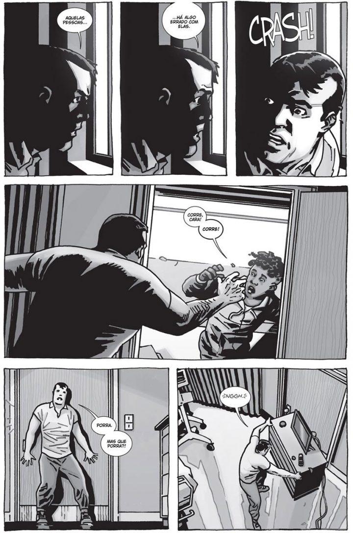 """Começa o apocalipse zumbi para Negan em uma página do especial """"Here's Negan"""", nos quadrinhos de The Walking Dead."""