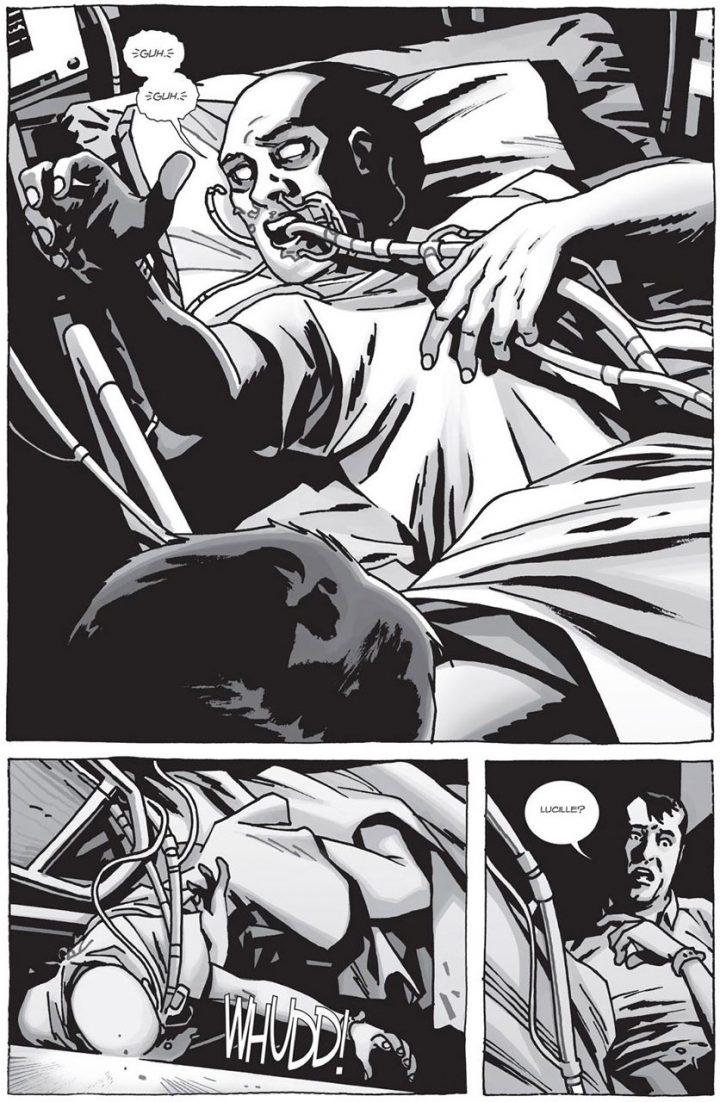 """Lucille, na história original de """"Here's Negan"""", em quadrinhos. Os mortos começaram a voltar a vida no mesmo dia em que ela morreu, vítima de câncer, causando espanto em Negan."""