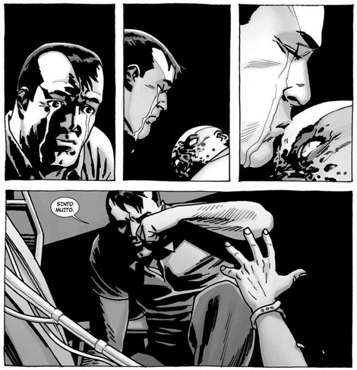 """Negan percebe que Lucille está morta em uma página do especial """"Here's Negan"""", nos quadrinhos de The Walking Dead."""
