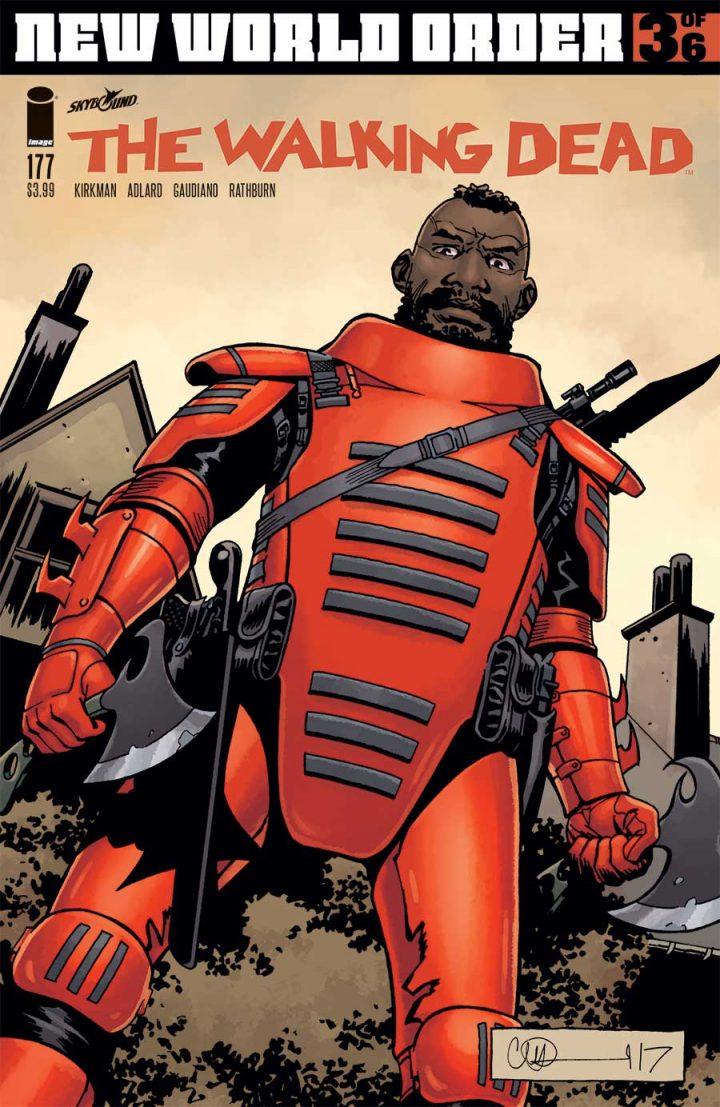 Mercer, na capa da edição 177 dos quadrinhos de The Walking Dead.