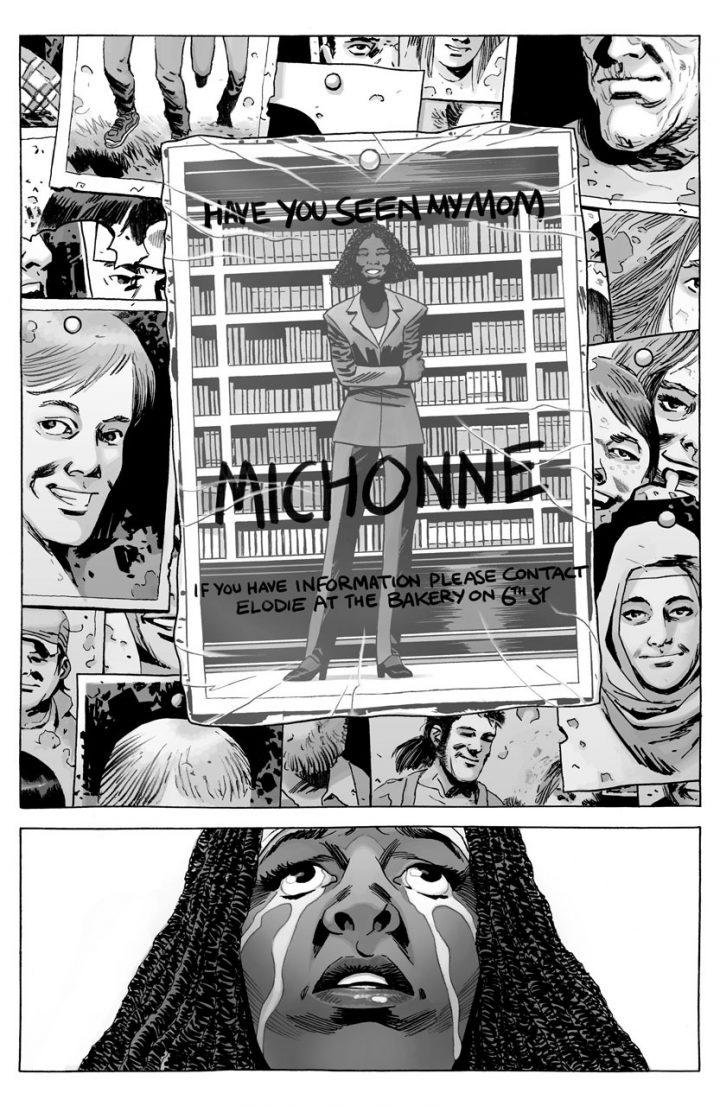 Michonne encontra sua filha Elodie no Mural dos Desaparecidos, na edição 175 dos quadrinhos de The Walking Dead.