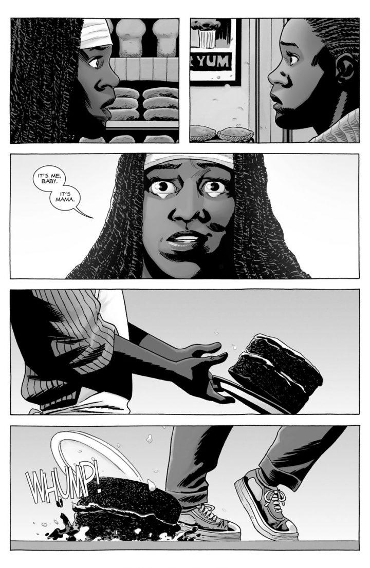 O reencontro de Michonne com sua filha Elodie, na edição 176 dos quadrinhos de The Walking Dead.
