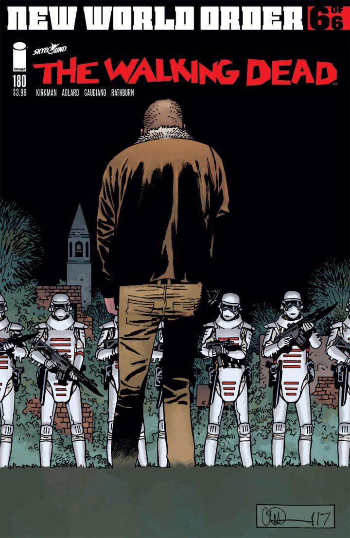 Capa da edição 180 dos quadrinhos de The Walking Dead, indicando a presença dos soldados de Commonwealth em Alexandria.