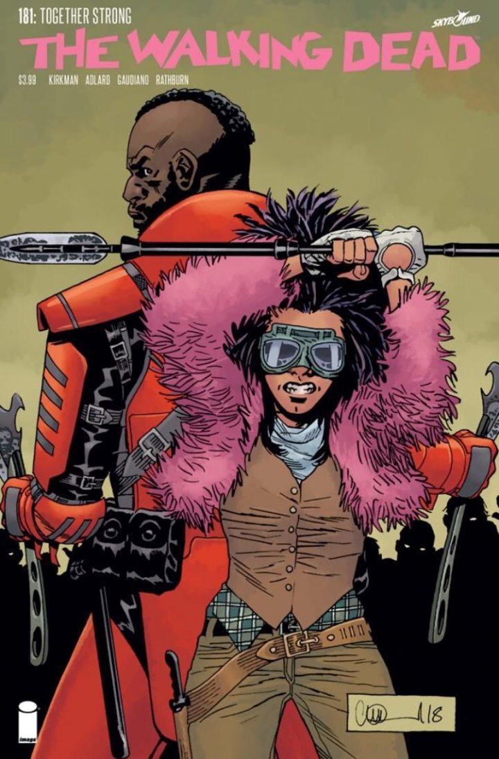 Mercer e Princesa na capa da edição 181 dos quadrinhos de The Walking Dead.