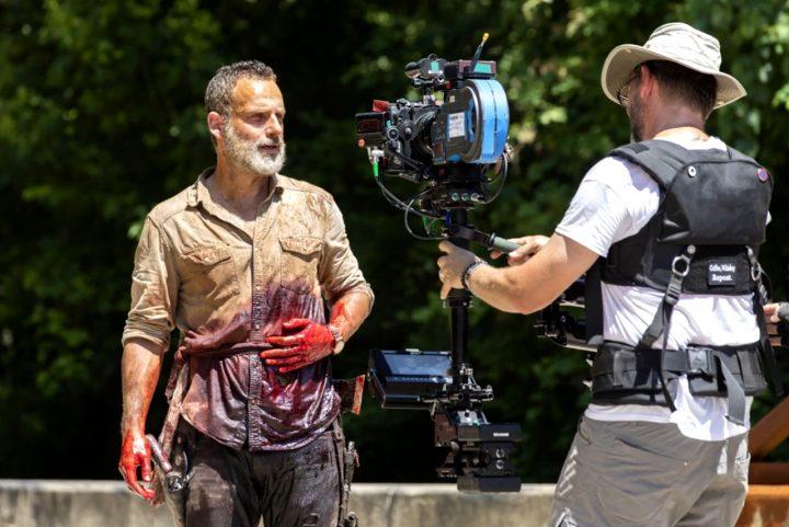 Andrew Lincoln, nas gravações do 5º episódio da 9ª temporada de The Walking Dead, o último com Rick Grimes.