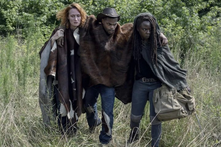 Michonne (Danai Gurira), Aiden (Breeda Wool) e Bailey (Andrew Bachelor) no 13º episódio da 10ª temporada de The Walking Dead.