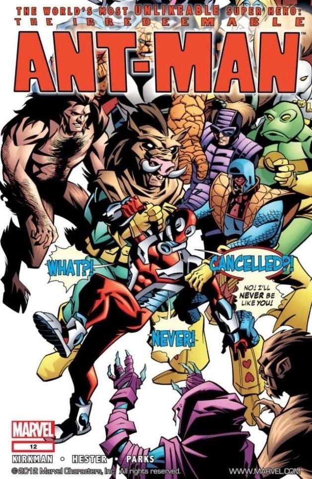 """Capa de """"Homem-Formiga"""" #12, com roteiro de Robert Kirkman."""