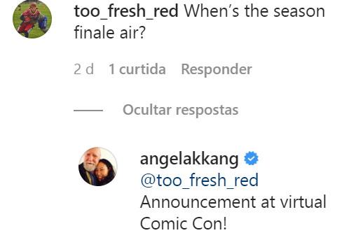 Angela Kang, a showrunner de The Walking Dead, responde a um fã em seu Instagram pessoal.