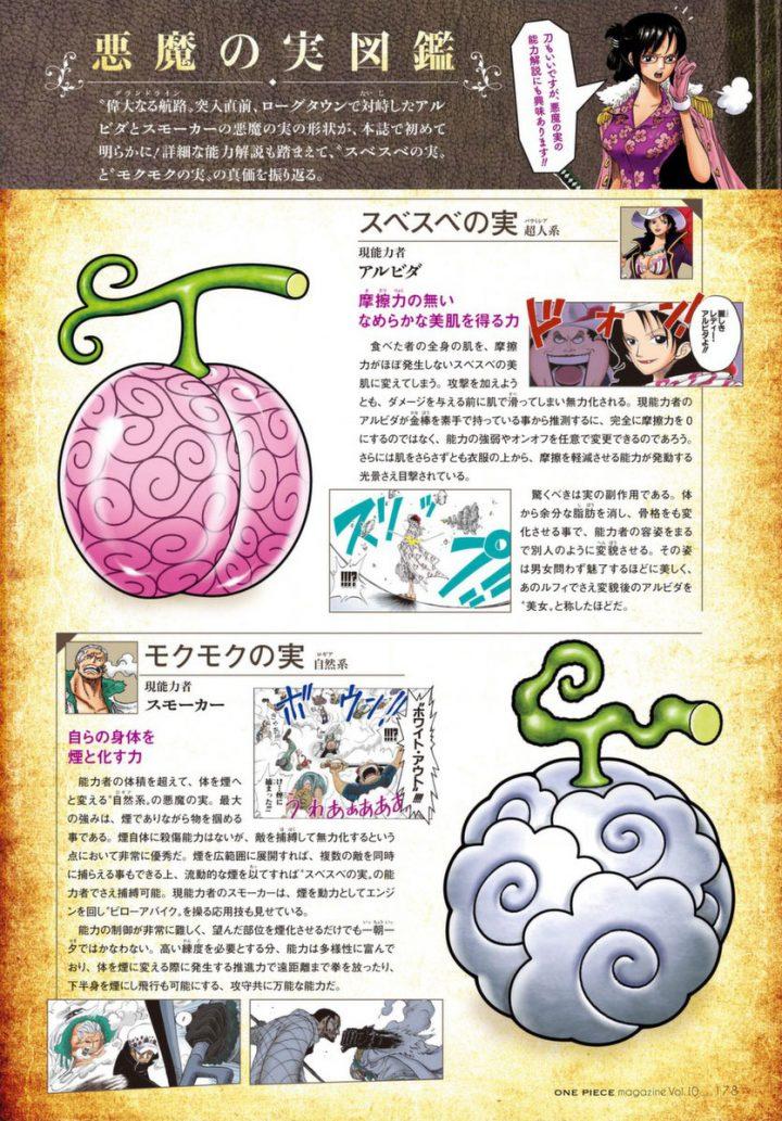 Scan do 6º volume da One Piece Magazine, mostrando as frutas de Alvida e Smoker, a Sube Sube no Mi e a Moku Moku no Mi, respectivamente.