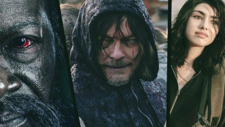 Morgan Jones, Daryl Dixon e Hope, os principais personagens de cada uma das três séries do Universo The Walking Dead.
