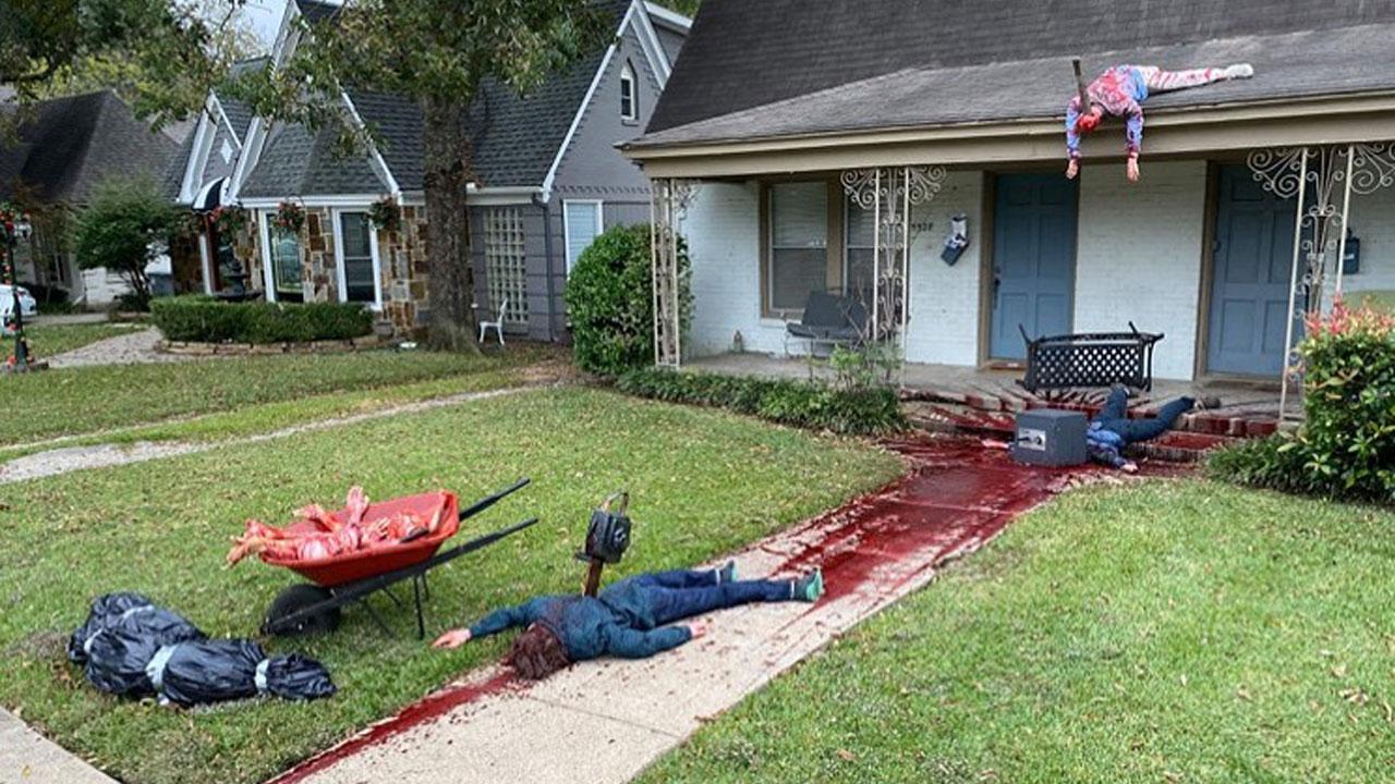 Decoração hiperrealista de Halloween no Texas em 2020.