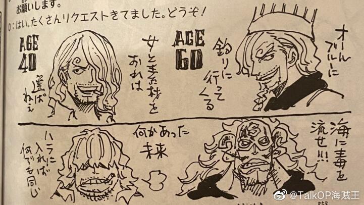 Oda desenha Sanji com 40 e 60 anos no SBS do volume 98.