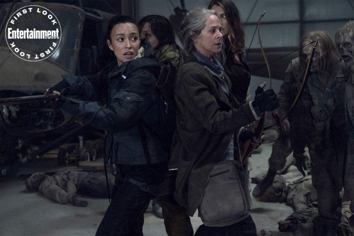 Rosita, Lydia, Carol e Maggie enfrentam zumbis militares na 11ª temporada de The Walking Dead.