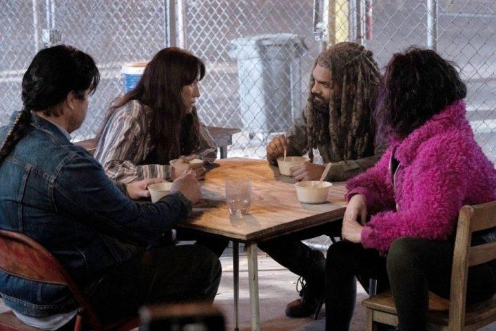 Eugene, Yumiko, Ezekiel e Princesa em foto promocional da 11ª temporada de The Walking Dead.