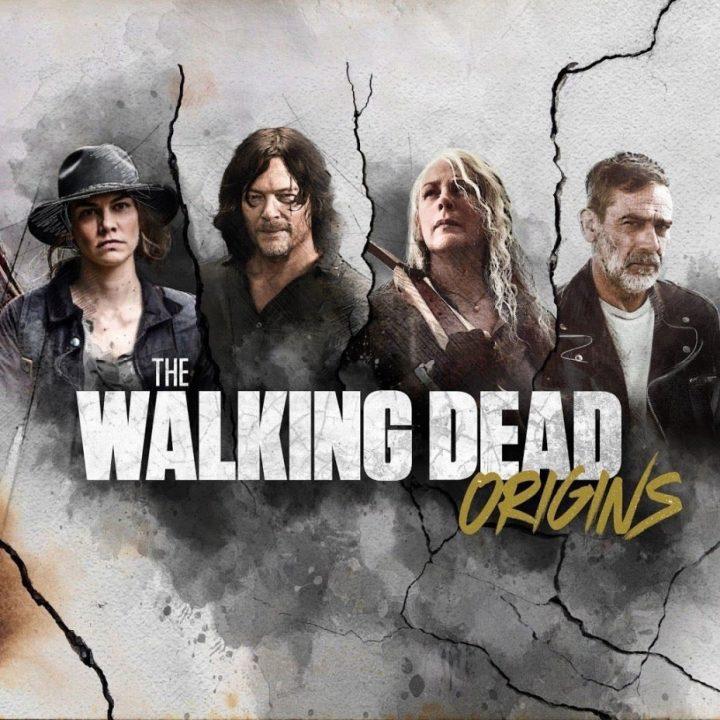 Pôster de The Walking Dead: Origins com Maggie, Daryl, Carol e Negan.