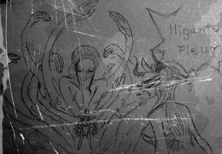 Rascunho de Robin VS Black Maria dos spoilers do capítulo 1020 do mangá de One Piece.
