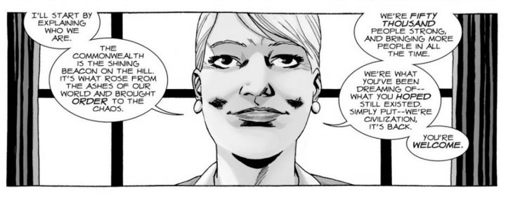 Governadora Pamela Milton nos quadrinhos de The Walking Dead.