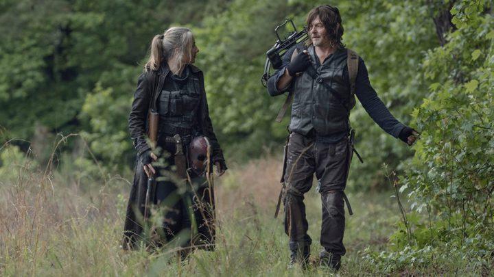 "Leah e Daryl no 7º episódio da 11ª temporada de The Walking Dead (S11E07 - ""Promises Broken"")."